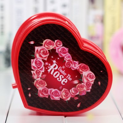 Holiday gifts double layer heart with drawer storage box couple lovers music box ornaments jewelry storage bins wedding decor