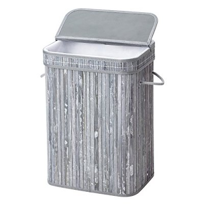SONGMICS Bamboo Laundry Hamper Storage Basket Foldable Dirty Clothes Box Bin with Lid Handles and Removable Liner Rectangular 72L Distressed Gray ULCB10GW