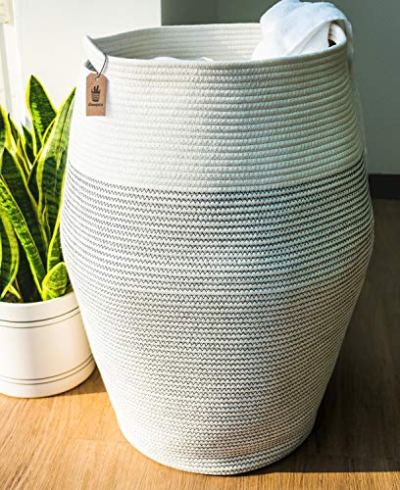 """Goodpick Laundry Hamper   Woven Cotton Rope Dirty Clothes Hamper Tall Kids Curver Laundry Basket Large, 25.6"""" Height"""