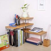 Ollieroo 3 Tier Corner Shelf Bamboo Spice Rack Desk Bookshelf Display Shelves Space Saving Organizer for Living Room, Kitchen, Office