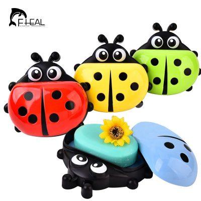 FHEAL Cute Ladybug Soap Box Bathroom Drain Soap Holder Kitchen Sponge Storage Rack Jewelry Storage Box