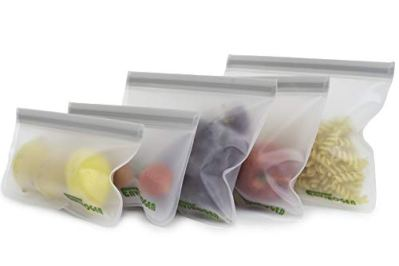 Envirogen Reusable Storage Bags (5 pack) for Food   Kids Snacks   Resealable   Freezer   Lunch Sandwiches   Fruit   EXTRA THICK   Leakproof   Travel Items