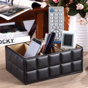 PU Leather Storage Boxes Luxury for Remote Control Phone Cosmetic Make Up Container Home Office Car Organizer Black White