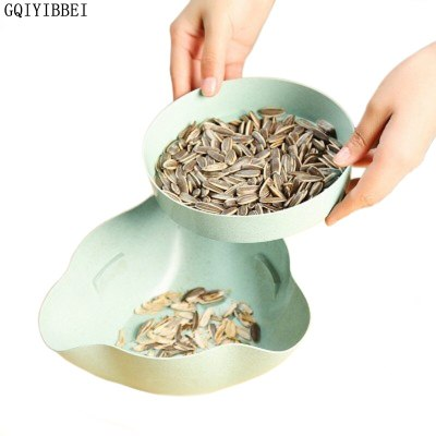 New Plastic Open Double Layer Candy Snacks Dry Fruit Melon Seeds Holder Storage Box Dish Tray Box Home Decor fashion Containers