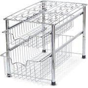 Simple Houseware Stackable 2 Tier Sliding Basket Organizer Drawer, Chrome