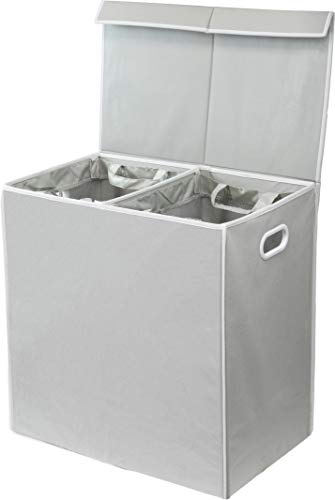 Simplehouseware Double Laundry Hamper with Lid and Removable Laundry Bags, Grey