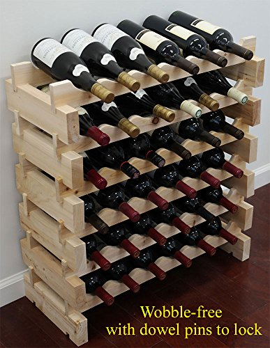 DisplayGifts 36 Bottle Capacity Stackable Storage Wine Rack, Wobble-free, Thicker Wood, WN36