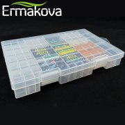ERMAKOVA 27.5cm Hard Plastic Transparent Battery Organizer Battery Case Container Battery Holder Storage Box AAA AA C D 9V