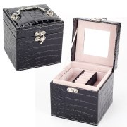 High Quality PU Leather Jewelry Box Leather Jewelry Mirror Cassette Storage Box Large Capacity Earring / Necklace Storage Box