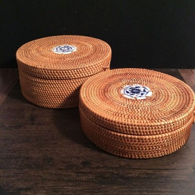 Vietnamese Rattan tea tin box with lid rope square round hand-woven snack food storage box organizer for sundries puerh tea gift