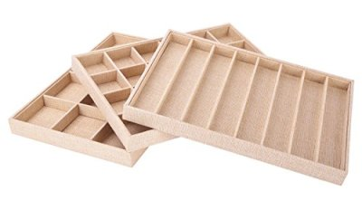 Stackable Jewelry Tray Showcase Display Organizer, Set of 3