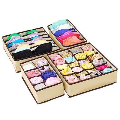 ALGHLH 4Pc Underwear Bra Organizer Storage Box 2 Colors Beige/Rose Drawer Closet Organizers Boxes For Underwear Scarfs Socks Bra