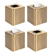 mDesign Modern Square Metal Paper Facial Tissue Box Cover Holder for Bathroom Vanity Countertops, Bedroom Dressers, Night Stands, Desks and Tables - 4 Pack - Soft Brass