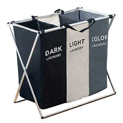 105L Laundry Hamper Sorter Basket Foldable 3 Sections with Aluminum Frame 26''×24''H Washing Storage Dirty Clothes Bag for Bathroom Bedroom Home, Multicolor (3 Liner)
