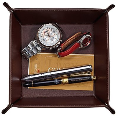 OARIE Jewelry Tray, Valet Tray PU Leather Catchall Tray for Men Key Wallet Coin Box Travel Valet Tray(Brown)