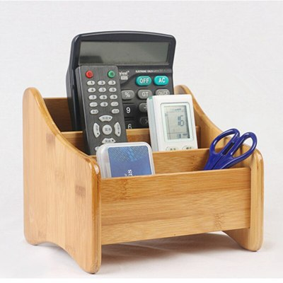 Bamboo Storage Box 3 Slots Table Decor Remote Control Holder Multiple-Use Sundries Stationery Makeup Cosmetic Organizer