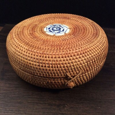 Southeast Asia Rattan storage box with lid round hand-woven tea container food sundries organizer puerh tea box tin vintage gift