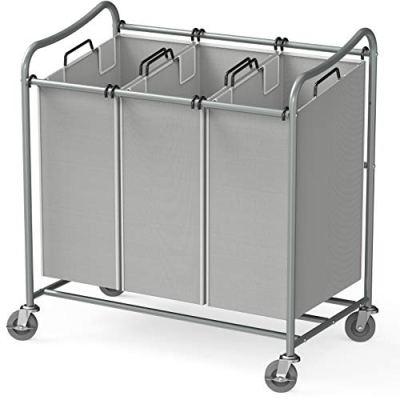 Simple Houseware Heavy-Duty 3-Bag Laundry Sorter Cart, Grey