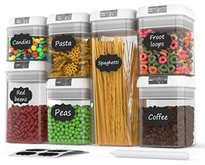 Airtight Food Storage Containers - Airtight Container Set with Lids - Food Storage Container Set - Plastic BPA Free - 7 Piece Set - BONUS 24 Labels with Marker - Heavy Duty Dry Food Storage Container
