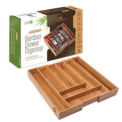 ✔ Premium, Extra Deep, Non-slip, Large Silverware Organizer  Expandable Bamboo Utensil Drawer Organizer  Wooden Flatware Holder, Cutlery Tray  Adjustable Kitchen Drawer Divider by PRISTINE BAMBOO