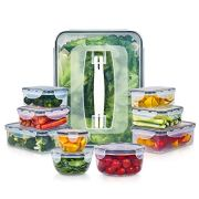 10 Pack Food Storage Containers for Food Preparation, Lunch and Leftovers, Vtopmart BPA Free Airtight Plastic Kitchen Food Storage Containers with Easy Lock Lids, Microwave,Freezer and Dishwasher Safe