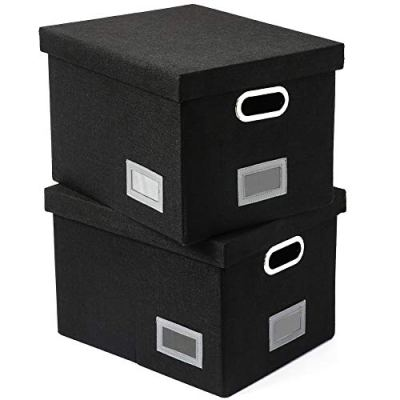 SUPERJARE Updated File Box for Hanging Files   Set of 2   Storage Office Box with Durable MDF Board & Linen Fabric   File Storage Organizer for Letter/Legal   Black