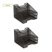 Mind Reader 2MESHBOX5-BLK Mesh Desk Organizer 5 Trays Desktop Document Letter Tray for Folders, Mail, Stationary, Desk Accessories, 2 Pack, Black