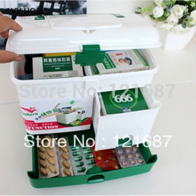 LVV HOME Large-capacity household medicine box/Portable first aid kit Drug storage box Double-layer medicine box