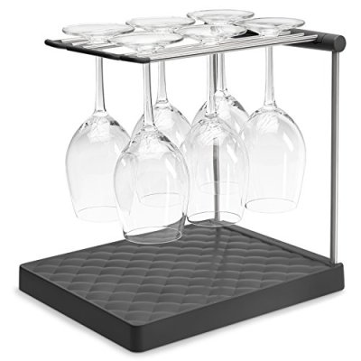 """KOHLER Collapsible Wine Glass Holder or Drying Rack. Collapsible to 1.25"""", Holds Up To 6 glasses, Charcoal"""