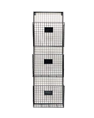 Three Tier Wall File Holder – Durable Black Metal Rack with Spacious Slots for Easy Organization, Mounts on Wall and Door for Office, Home, and Work – by Designstyles