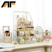 AF Luxury Large Makeup Storage Glass Et Metal Edge Cosmetics Organizer Clear Detachable Storage Box Lipstick Holder C218