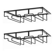 DEFWAY Wine Glass Rack - Under Cabinet Stemware Wine Glass Holder Glasses Storage Hanger 2 Pack Metal Organizer for Bar Kitchen Black