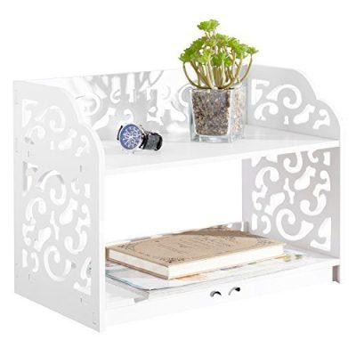 MyGift White Cutout Scrollwork Design Desktop Bookshelf