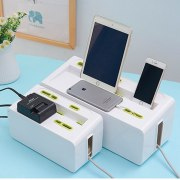 Power Strip Cord Storage Boxes Safety Socket Outlet Board Container Electric Wire Collection Cables Organizer Case Accessories
