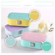 Candy Color PU Jewelry Storage Box Luxury Jewel Case With Mirror Leather Make Up Box Birthday Gift 1 Piece Free Shipping