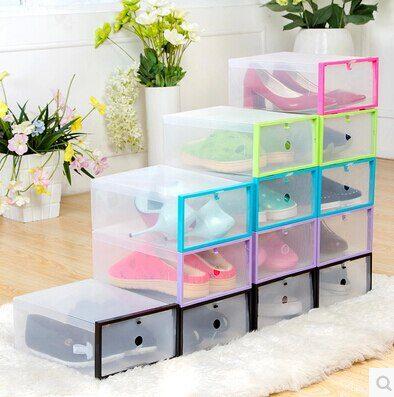 5PC Foldable Shoe Cabinet Shoe Organizer Shoe Storage Box Plastic Shoe Box Transparent Drawer Organizer Stackable Plastic Box