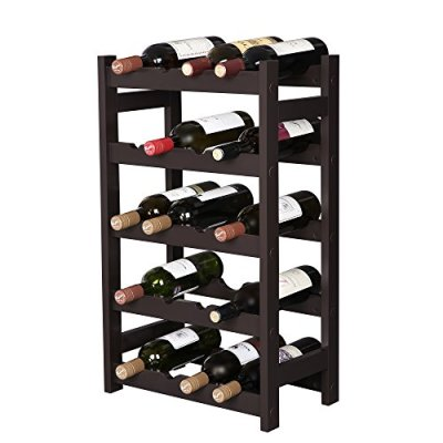 VASAGLE Wood 20 Wine Display Rack, Standing Bottles Storage Shelf, Wobble-Free, Espresso ULWR01BR