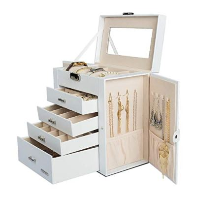 Homde Synthetic Leather Huge Jewelry Box Mirrored Watch Organizer