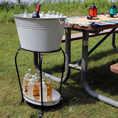 Sunnydaze Large Ice Bucket Beverage Holder with Stand and Tray for Partie