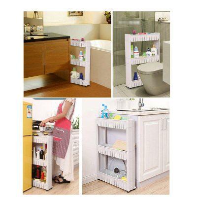1 Pc White Gap Storage Shelf For Kitchen Storage Skating Movable Plastic