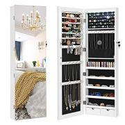 SONGMICS Full Screen Mirrored Jewelry Cabinet Armoire
