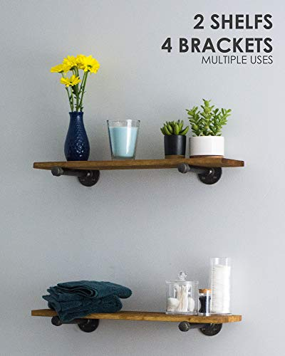 PIPE DÉCOR Industrial Pipe Wooden Shelves, Distressed Aged Wood Paired