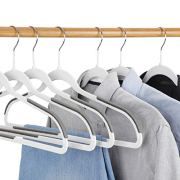 SUPER DEAL 50/100 Pack Non Slip Hangers Rubber Coating Clothes Hangers