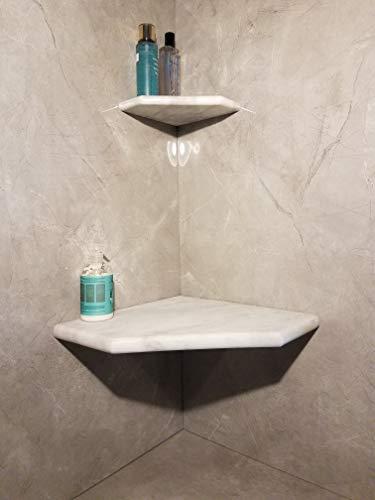 "16"" Marble Shower Corner Seat (Carrara White XA) Natural Stone"