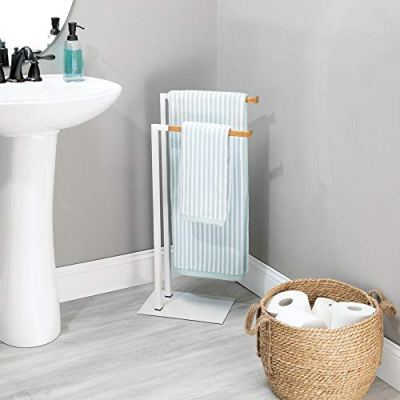 mDesign Tall Modern Metal and Bamboo Wood Towel Rack Holder