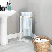 mDesign Tall Modern Metal and Bamboo Wood Towel Rack Holder