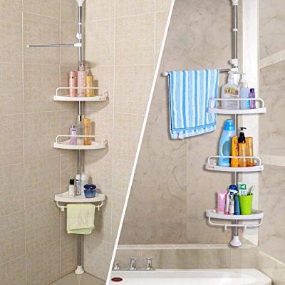 JY Corner Shower Caddy, Constant Tension Pole, Rustproof Stainless Steel