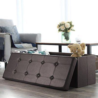 SONGMICS 43 Inches Folding Storage Ottoman Bench, Storage Chest