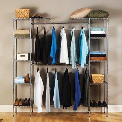 Seville Classics Double-Rod Expandable Clothes Rack Closet Organizer System