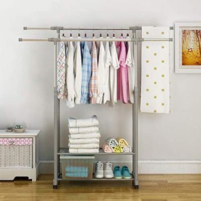 HOME BI Adjustable Garment Rack with 2 Tier Metal Shelf for Shoes Boxes